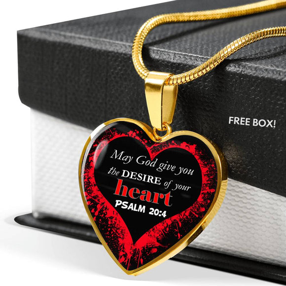 Luxury Heart Pendant & Necklace- Desire of Your Heart- Psalm 20:4