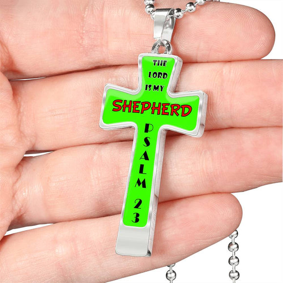 Luxury Cross Necklace- The Lord is My Shepherd- Psalm 23 (Military Chain)