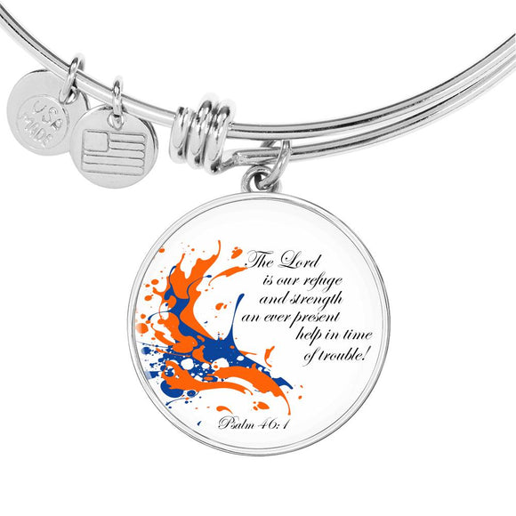 Luxury Adjustable Bangle & Circle Pendant- The Lord is our Refuge and Strength- Psalm 46:1