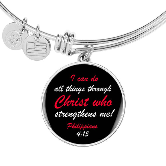 Luxury Adjustable Bangle & Circle Pendant- I Can Do All Things Through Christ- Philippians 4:13