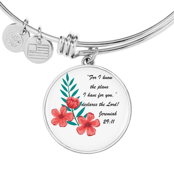 Luxury Adjustable Bangle & Circle Pendant- For I Know the Plans I Have For You- Jeremiah 29:11
