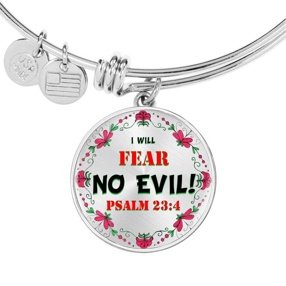 Luxury Adjustable Bangle & Circle Pendant- I Will Fear No Evil- Psalm 23:4