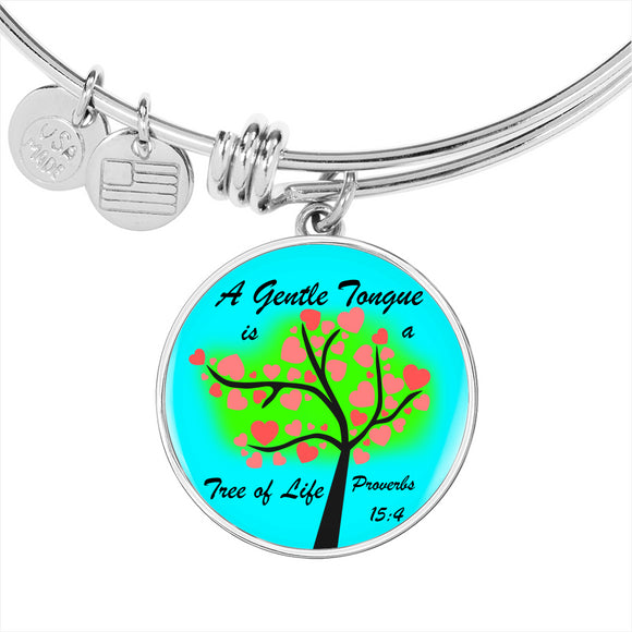Luxury Adjustable Bangle & Circle Pendant-  A Gentle Tongue is a Tree of Life- Proverbs 15:4