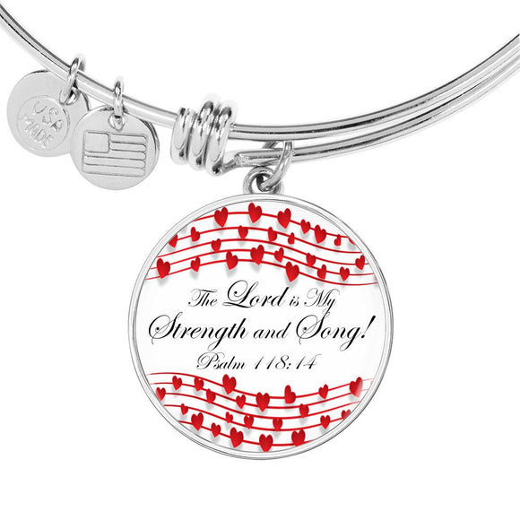 Luxury Adjustable Bangle & Circle Pendant- The Lord is my Strength & Song- Psalm 118:14-16