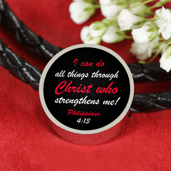 Charm- With or Without Woven Leather Bracelet- I Can Do All Things Through Christ- Philippians 4:13