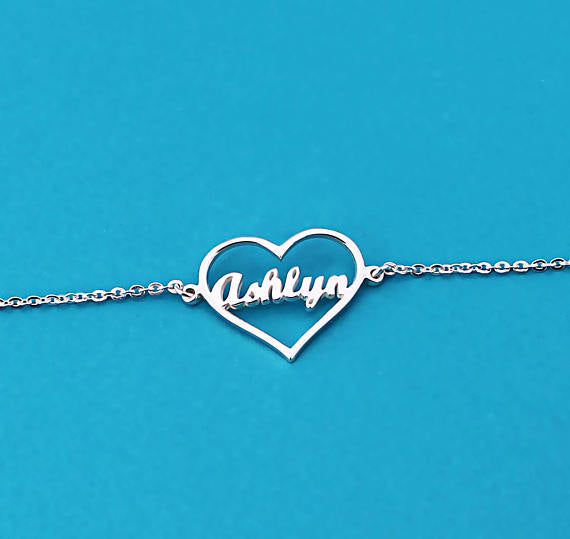 Personalized Heart Name Bracelet
