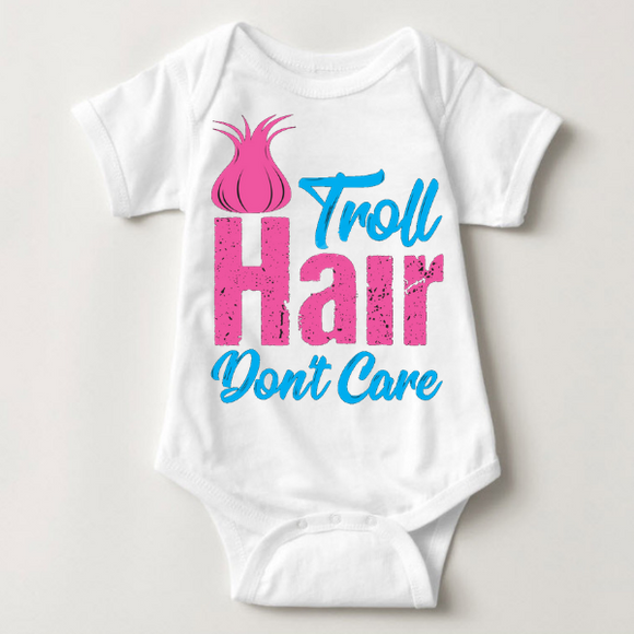 Troll Hair Don't Care Baby Onesie