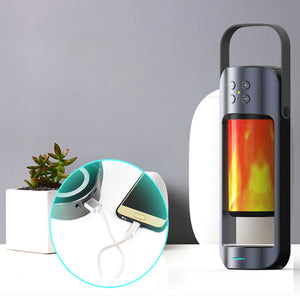 Dancing LED Flame Lantern with Bluetooth Speaker and Wireless Phone Charging