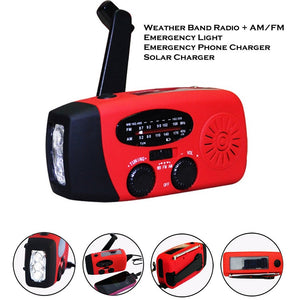 Storm Safe Emergency AM/FM/NOAA Weather Band Radio With Solar Flash Light And Built-in Phone Charger