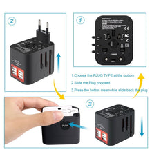 Load image into Gallery viewer, Worldwide Plug Adapter With 4 Port USB Fast Charger And A Surge Protector