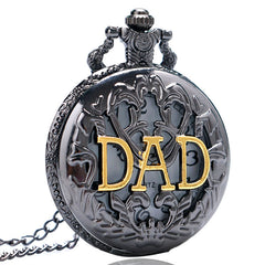 Black Case DAD Hollow Quartz Pocket Watch