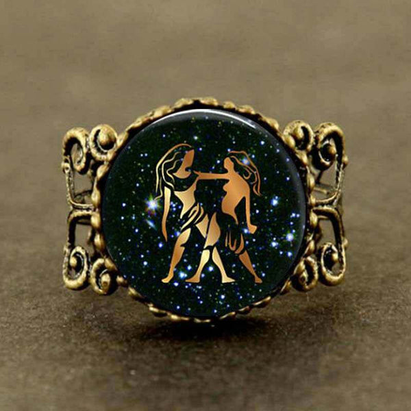 New Trendy Gemini Zodiac Sign Ring Glass Astrological Picture Jewelry Round Ring Silver Link Gifts Her