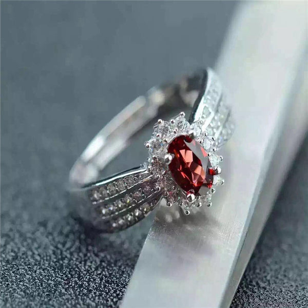 Womens Solid 925 Sterling Silver January Garnet Birthstone Ring