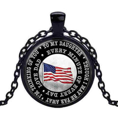 To My Daughter Black Chain Cabochon Crystal Pocket Watch