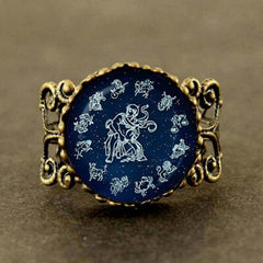 2019  New Trendy Aquarius Ring Zodiac Sign Astrological Water-bearer Jewelry Glass Blue Moon Ring Birthday Gift