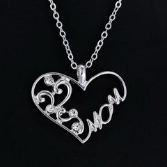 Mom Charm Silver Crystal Chain Heart Pendant Necklace