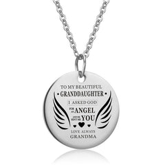 To My Daughter Stainless Steel Angel's Wing Choker Necklace