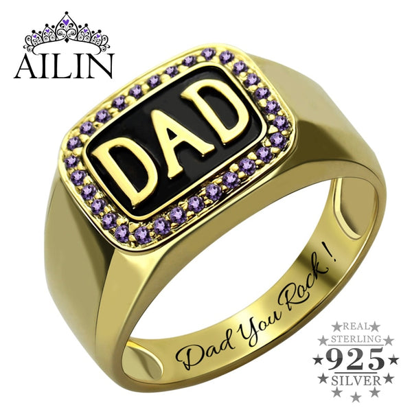 "Handmade Birthstone Ring for Dad ""Dad You Rock"""