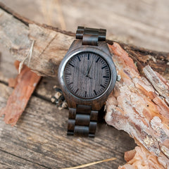 Wife to MY Husband I Love You ENGRAVED Wooden & Ebony Watch