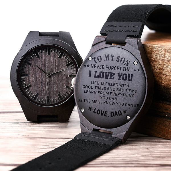 Engraved Wood Watches for Men Personalized Family Anniversary Gift for Son Graduation Gift