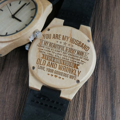 Wife to Husband I Love You Morning Middle Day Hours Together Away Heart Engraved WOOD WATCH
