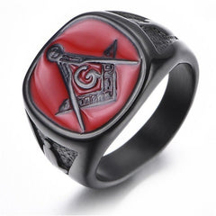 Mens Unique Black Plated College Style Freemason Ring