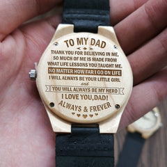 THE BEST FATHER IN THE WORLD - TO MY DAD ENGRAVED WOODEN WATCH