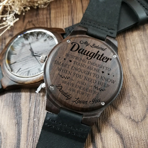JUST GO FORTH AND AIM FOR THE SKIES - FROM MOM AND DAD TO OUR DAUGHTER ENGRAVED WOODEN WATCH WRIST WATCH WOMEN