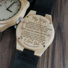 WIFE TO HUSBAND I LOVE YOU MORNING MIDDLE DAY HOURS TOGETHER AWAY HEART ENGRAVED ZEBRA WOODEN & EBONY WATCH
