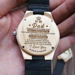 ENGRAVED WOODEN WATCH TO MY DAD THANK YOU FOR THE LOVE & SUPPORT