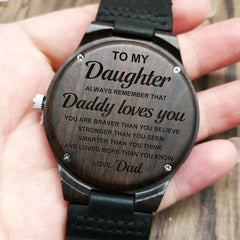 TO MY DAUGHTER DADDY LOVES YOU ENGRAVED WOODEN WATCH