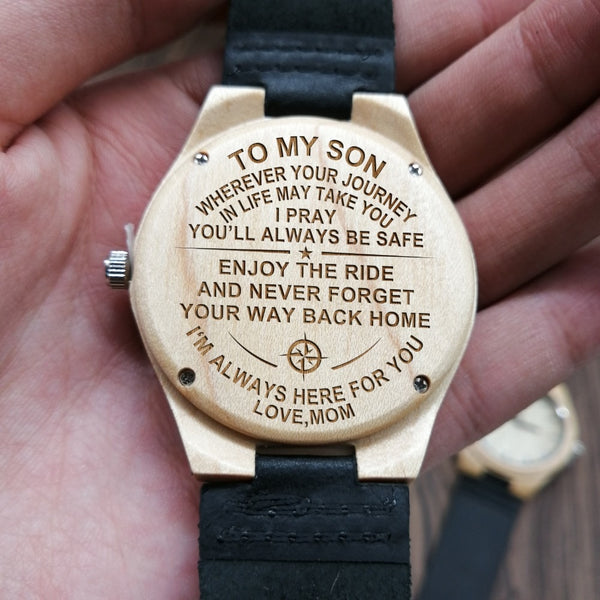 FROM MOM TO SON ENGRAVED WOODEN WATCH I'M ALWAYS HERE FOR YOU