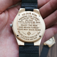 FROM MOM AND DAN TO OUR SON ENGRAVED WOODEN WATCH ENJOY THE RIDE AND NEVER FORGET BACK TO HOME