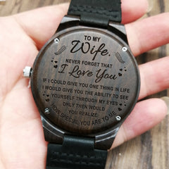 TO MY WIFE ENGRAVED WOODEN WATCH I LOVE YOU