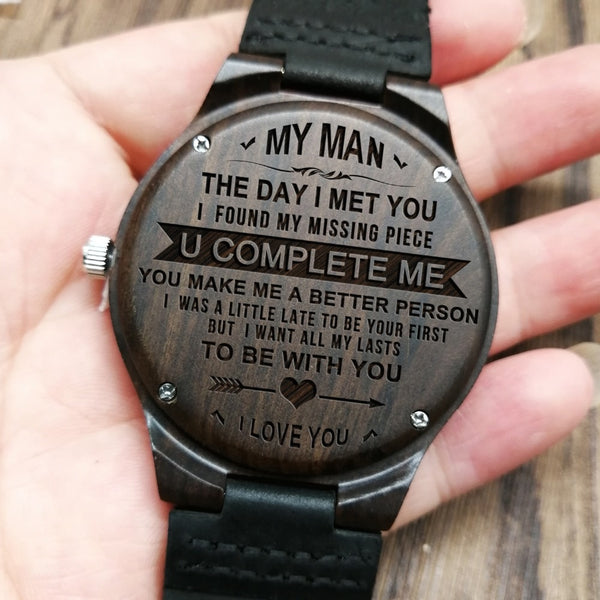 ENGRAVED WOOD WOODEN WATCH TO MY MAN MY HUSBAND YOU COMPLETE ME