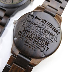 TO MY HUSBAND MEETING YOU WAS FATE BECOMING YOUR WIFE WAS A CHOICE ENGRAVED WOODEN WATCH