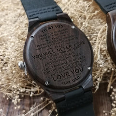 DAD TO MY SON I LOVE YOU ALWAYS & FOREVER ENGRAVED WOODEN WOOD WATCH
