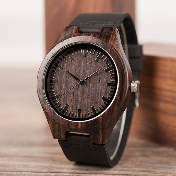BOBOBIRD Custom Wood Watch TO MY SON Ebony Leather Watch Idea Gift Personalized Wood Wristwatch