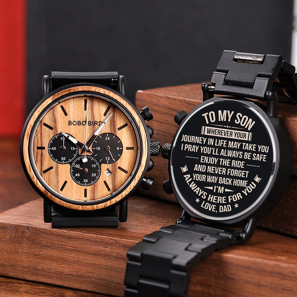 Engraved Wood Watch for Men Personalized Wooden Watches Anniversary Wedding Gift for Him Gift for Dad Son Fiance