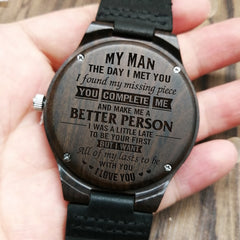 I WILL CHERISH YOU - FOR HUSBAND ENGRAVED WOODEN WATCH