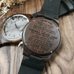 TO MY SON ENGRAVED WOODEN WOOD WATCH LOVE YOU FOR THE REST OF MINE