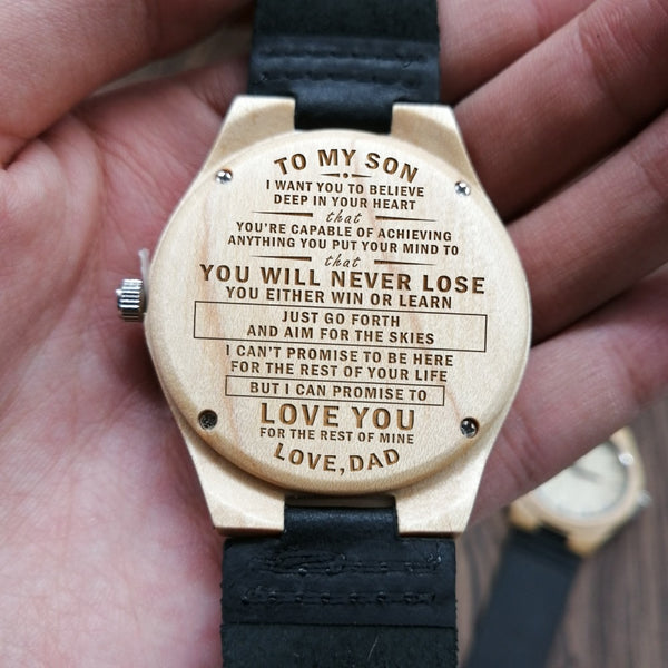 Wooden Wood Engraved Watch TO MY SON JUST GO FORTH AND AIM FOR THE SKIES