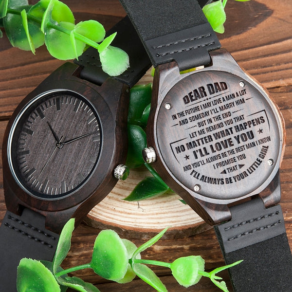 BOBOBIRD Personalized Men Watches Engrave gift for DAD Man Ebony Watch with Custom logo