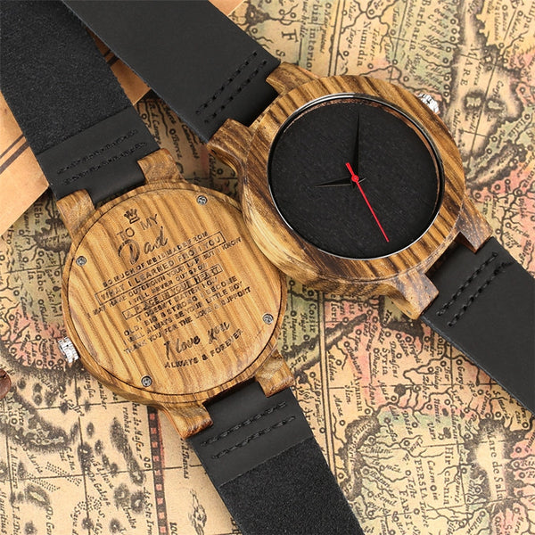 Top Gifts Item To My Dad Design Quartz Wooden Watch for Men Father's Day Birthday Items Mens Genuine Leather Wristwatch reloj
