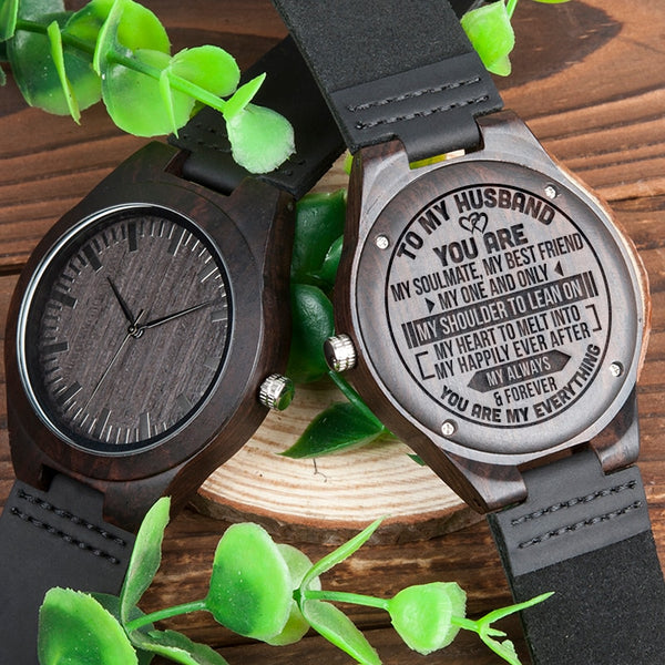 BOBOBIRD Best Gift TO MY Husband Personal Custom Ebony Leather Watch Idea GiftS Personalized Men Wood Wristwatch
