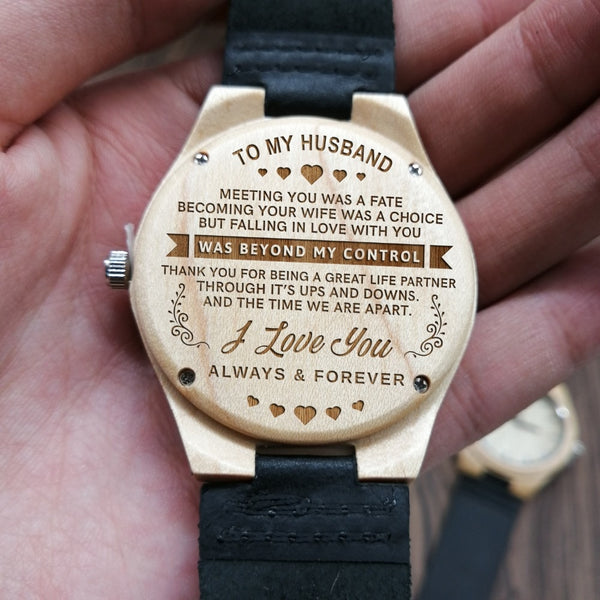 To My Husband-Engraved Carved Maple Wooden Watch As Birthday Anniversaries Gift Men Watch Luxury Watches