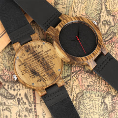 Creative Engraved To My Wife/Daughter Design Wood Watch for Ladies Simple Analog Clock Wooden Watches Quartz Clock Gifts Female
