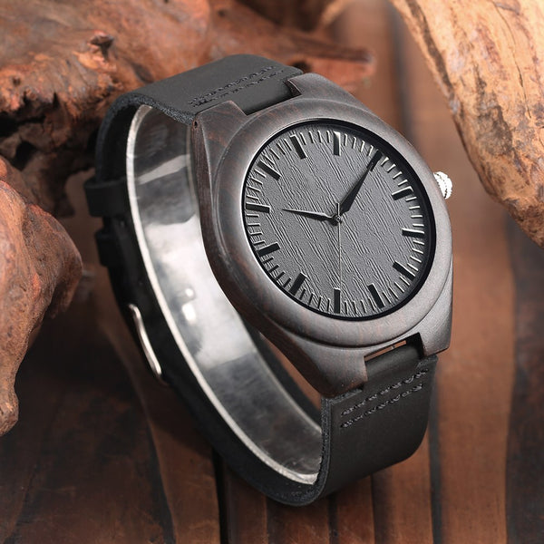 "Engraved Wooden Watch ""TO MY DAD/SON"" Men's Wood Quartz Wristwatch Male Genuine Leather Lightweight Souvenir Gifts For Dad Son"