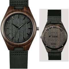shifenmei 5520 Engraved Wooden Men Groomsmen Watch for Husband Son Natural Ebony Customized Wood Watch Birthday Anniversary Gift