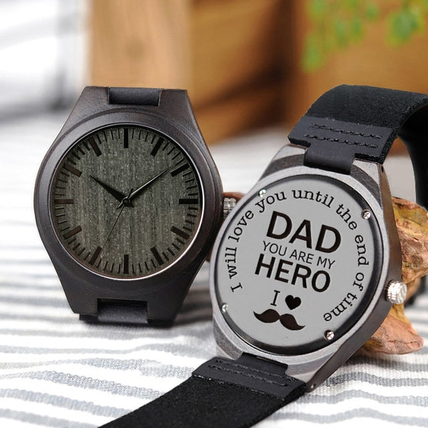 zk25 Personalized Engraved Wood Quartz Watches Gifts For Dad,,Mom, friends, Birthday,Anniversary Day,Groomsman Gift Custom Logo
